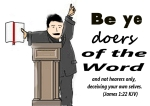 Clipart of a chubby caucasian preacher with books giving a sermon at a stand.